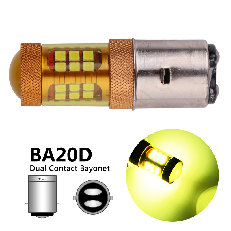 Gold Color H6 BA20D LED Motorcycle Headlight Bulbs BA20D H6 LED Motorbike Scooter Headlamp H6 Fog Light 12V