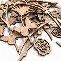 20 штук лазерная резка дерева цветов и листьев пустая деревянная отделка для поделки своими руками Новогоднее украшение для свадьбы
