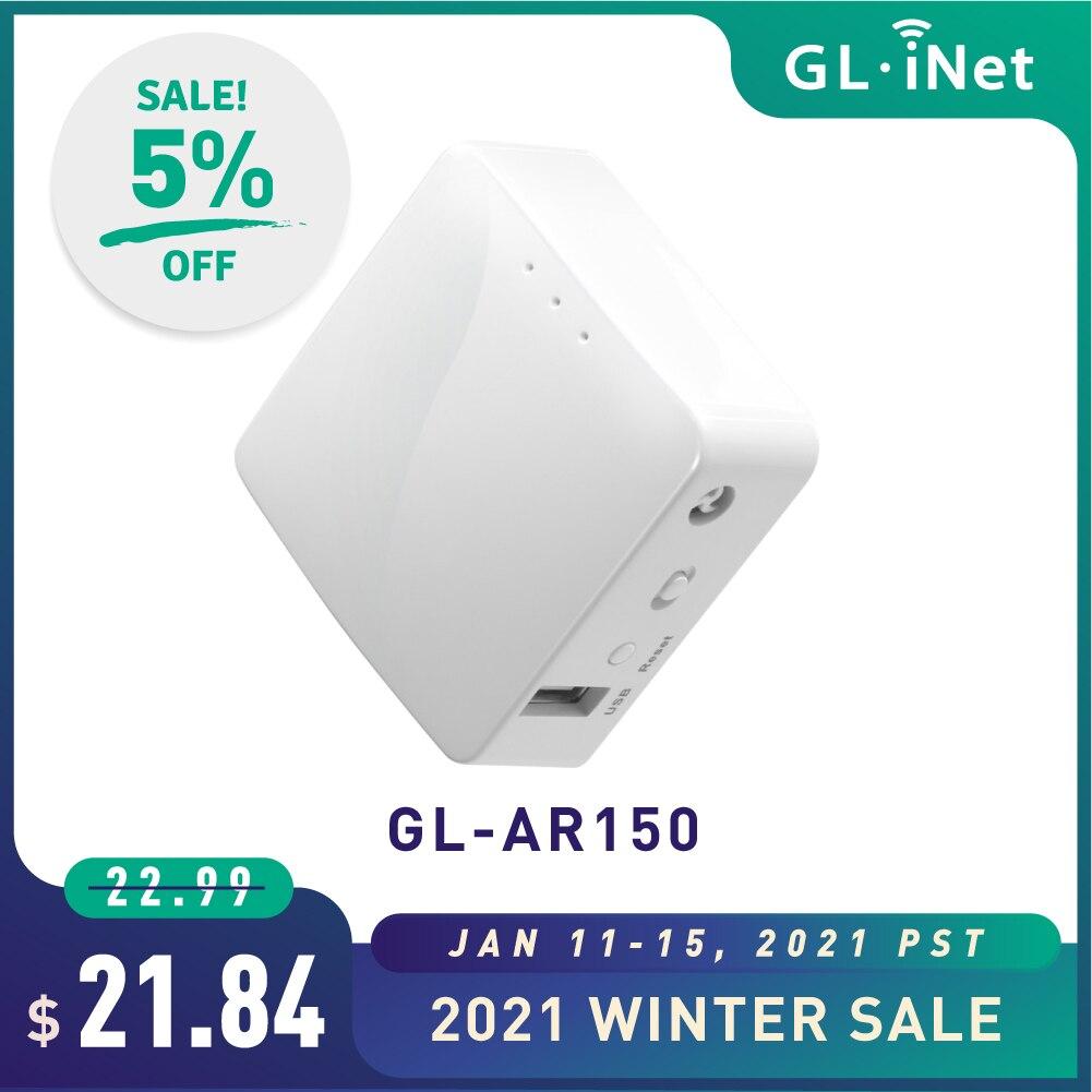 Мини-маршрутизатор GL.iNet AR150 для путешествий, Wi-Fi конвертер OpenWrt, предустановленный ретранслятор мост 150 Мбит/с, беспроводная высокая производительность, OpenVPN