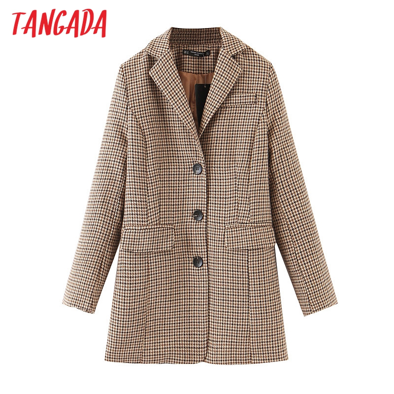 Tangada Woman Winter Thick Blazer Plaid Korea Style Chic Blazer Long Sleeve Back Bow Office Lady Blazer Coat Female Tops QB22