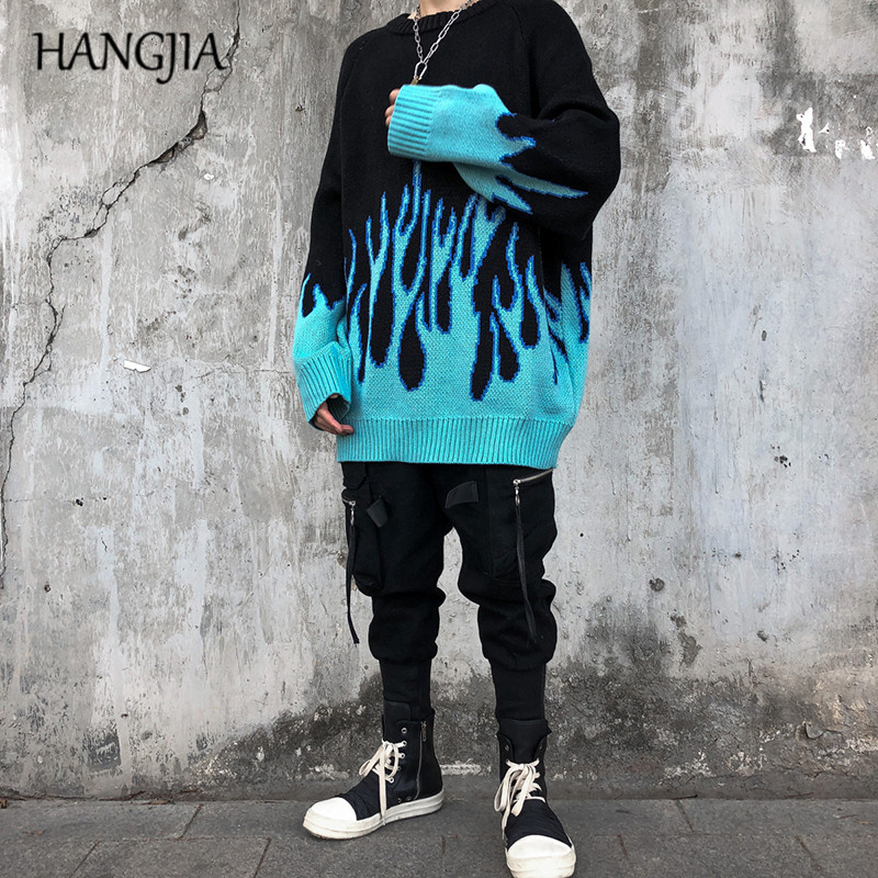Flame Sweater For Men Women Harajuku Lazy Pullovers Sweaters Autumn And Winter Hip Hop Oversized Knitting Pullover Top