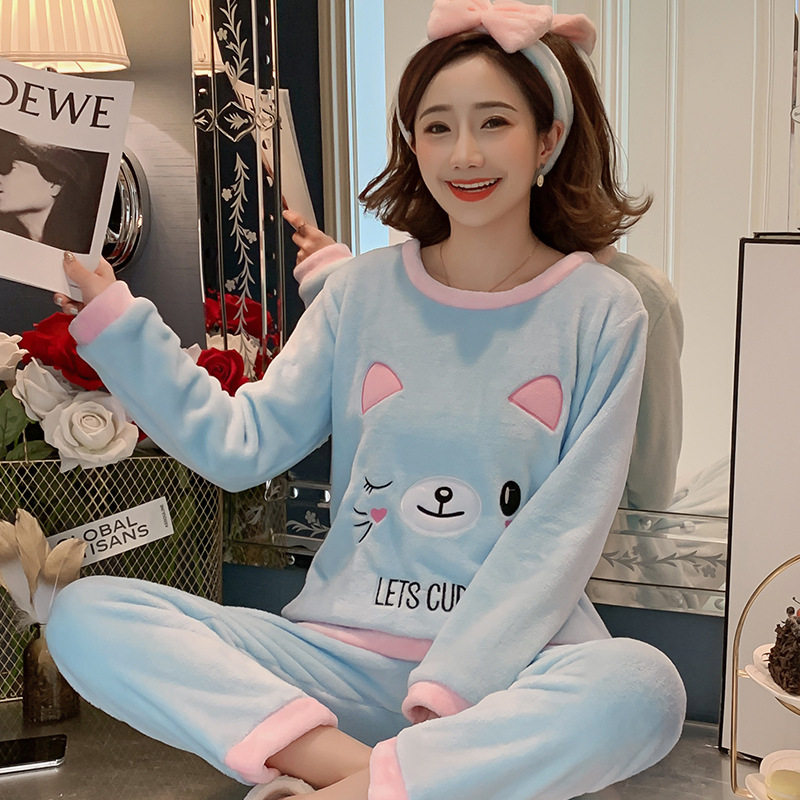 Betyline 2019 New Winter Pajamas For Women Sleepwear Warm Flannel Long Sleeves Pajamas Cute Animal Homewear Thick Homewear 173