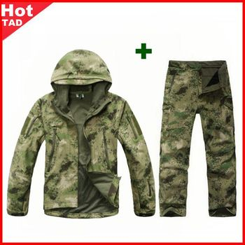 TAD Tactical Men Army Hunting Hiking Fishing Explore Clothes Suit Camouflage Shark Skin Military Waterproof Hooded Jacket+Pants 3pcs set tad shark softshell jacket outdoor clothes hunting jacket pants with shirts camouflage military army suits for hiking