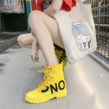 Купить с кэшбэком Women Canvas Ankle Boots Yellow/White/Black Lace-Up Ladies Shoes Spring/Summer/Autumn/Winter Casual Female Shoes Woman Footwear