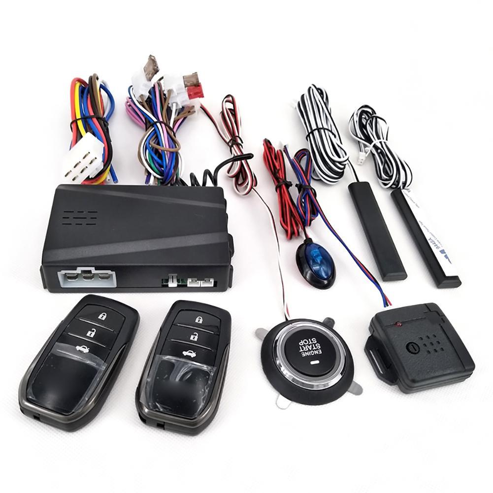12V araba alarmı uzaktan kumanda araba anahtarsız giriş motor çalıştırma Alarm sistemi Push Button uzaktan marş durdurma otomatik Anti anti-hırsızlık sistemi