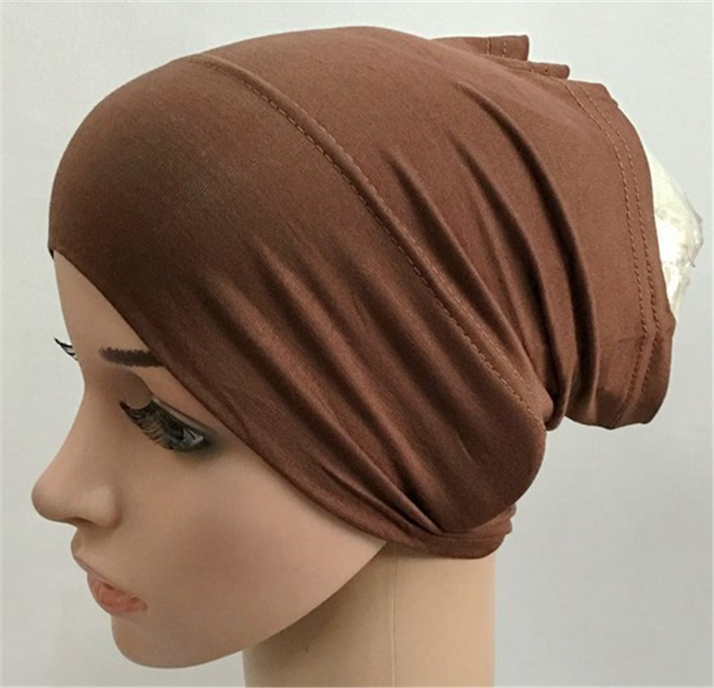 2020 Soft Modal Inner Hijab Caps Muslim Stretch Turban Cap Islamic Underscarf Bonnet Hat Female Headband Turbante Mujer