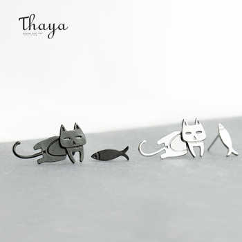 Thaya Cute Cat Fish Trendy Earrings Female S925 Sterling Silver Animal Ear Hook Stud For Women Lovely Party Gifts - DISCOUNT ITEM  30% OFF All Category