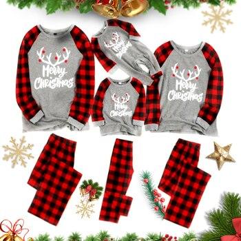 Conjunto de pijamas familiares de Navidad con diseño de venado para mamá papá y bebés Tops + Pantalones 2 uds. Pijamas de Navidad 2020