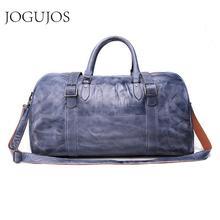 цена на JOGUJOS New Genuine Leather Men Duffel Bag Men's Handbag Travel Bag Luggage Shoulder Bag Vintage Duffle Bag Weekend Tote Men6430