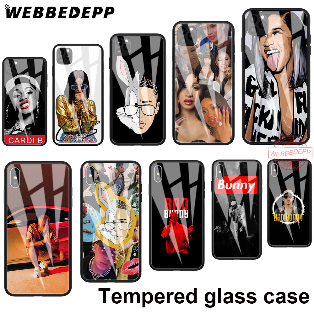 Tempered Glass Soft Border <font><b>Case</b></font> for <font><b>iPhone</b></font> 11 Pro XS Max XR X 8 7 6S 6 Plus <font><b>5S</b></font> SE 118N Cardi B Bad <font><b>Bunny</b></font> image