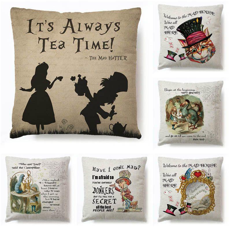 Алиса в стране чудес» мультяшная Подушка Чехол с милым кроликом; С принтом кота Подушка винтажное украшения для дома из хлопка и льна для по...