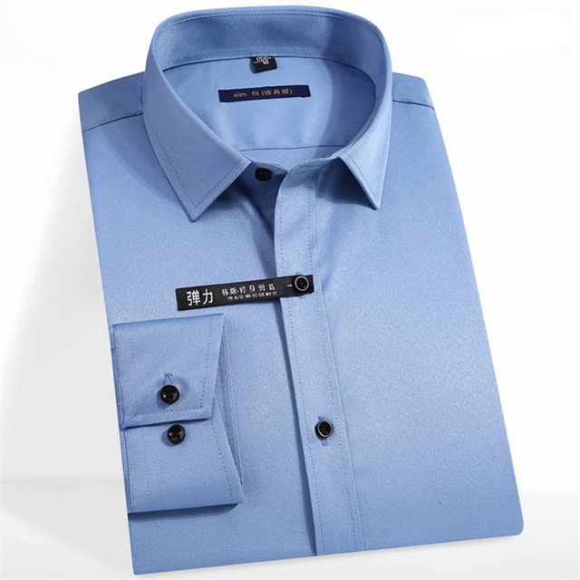 優れた品質長袖ターンダウン襟竹繊維弾性スリムフィットメンズドレスシャツフロントカバーなしポケット