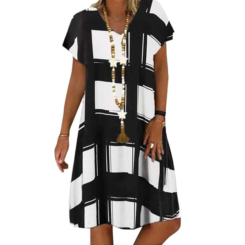 Summer Lattice Print Casual Dress Women's V-neck Short Sleeve Vintage Dresses For Women Plus Size Beach Boho Loose Midi Dress 2