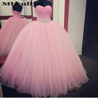 Mbcullyd Pink Quinceanera Dresses Long Ball Gown Princess Sweet 16 Birthday Party Gowns Special Occasion vestido de 15 anos