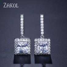 ZAKOL Classic White Blue Green Shiny Square AAA+ Cubic Zirconia Dangle Earrings for Women Fashion Wedding Party Jewelry