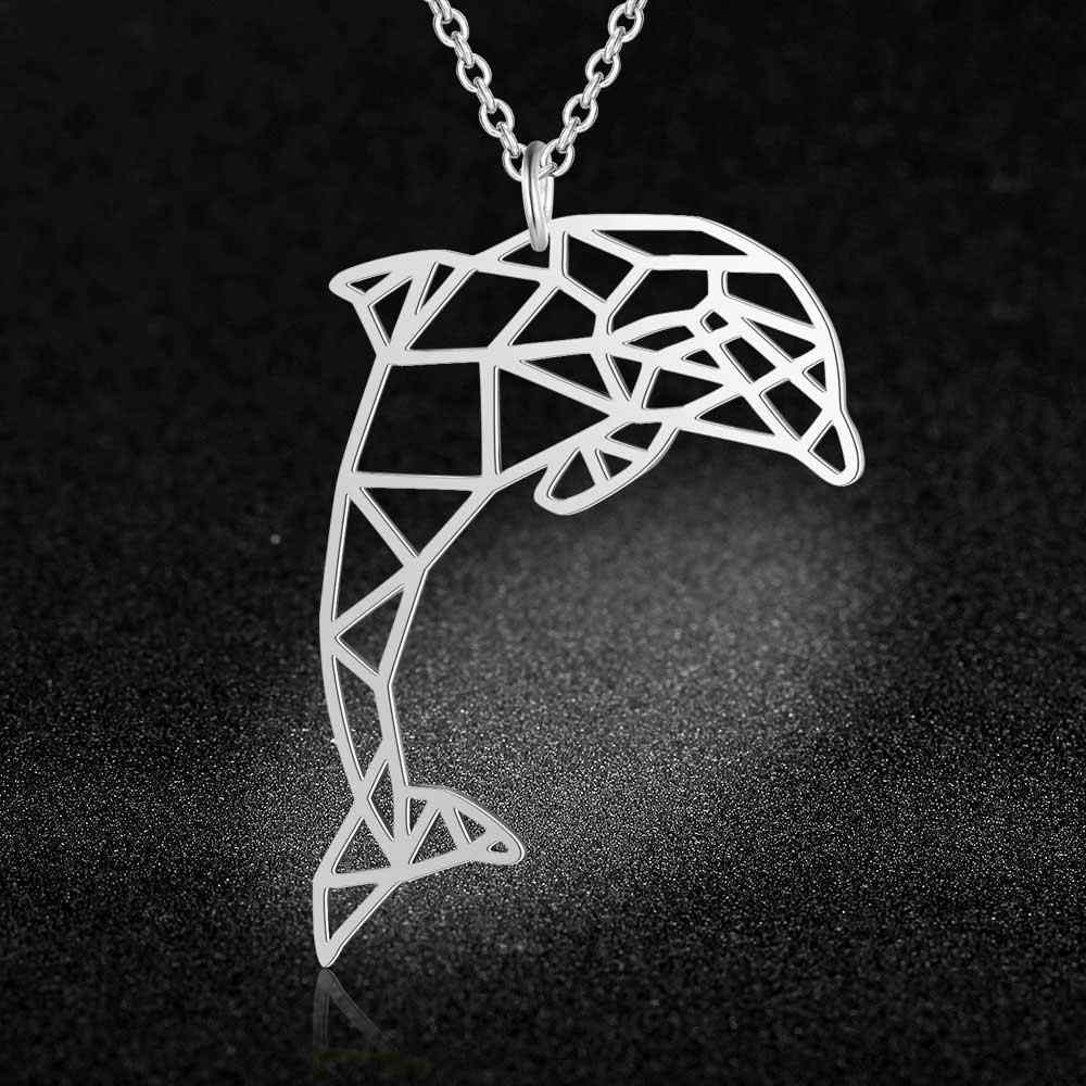 100% Real Stainless Steel Hollow Big Dolphin Necklace Super Quality Personality Jewelry Trend Jewelry Necklaces Special Gift