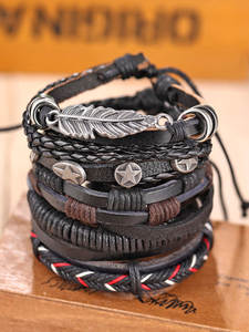 IFMIA Bracelet Bangles Braided Star-Rope Gift Leaf Feather-Multilayer Handmade Male Vintage