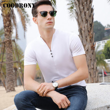 COODRONY Streetwear Fashion Henry Collar T Shirt Men Soft Co