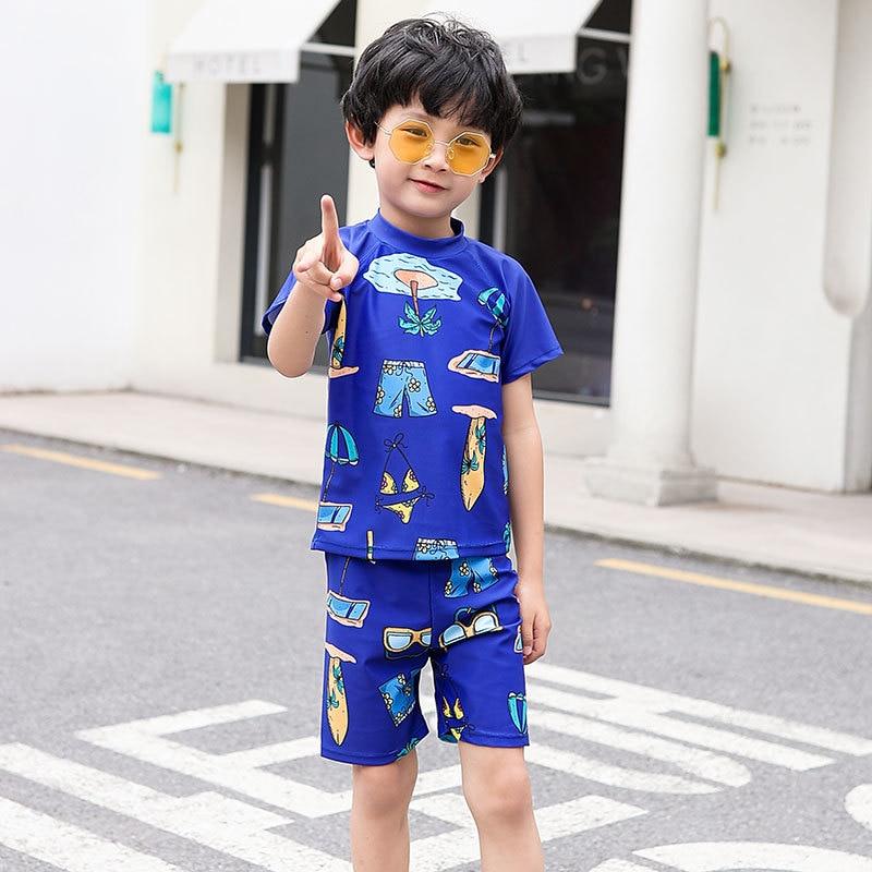 Korean-style Split Type Two-Piece Set Boxer BOY'S Printed Holiday KID'S Swimwear Sports Hot Springs Set With Swim Cap Small CHIL