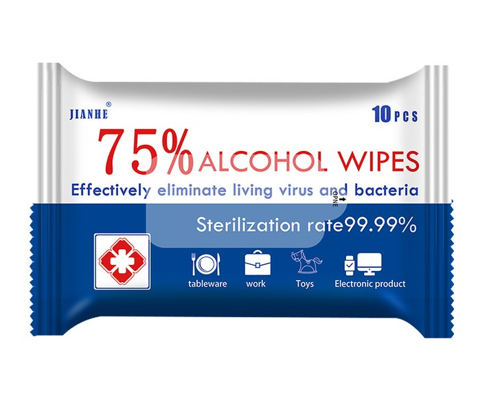 10 Sheets/1pack 75% Alcohol Wet Wipes Disinfection Wipes Care Mobile Phone Glasses Clean Alcohol Pads Convenience Wet Wipes