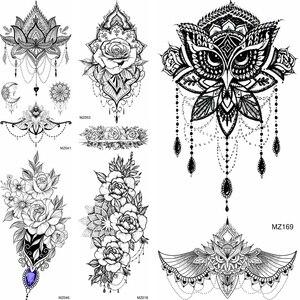 Черные временные тату хной наклейки реалистичные поддельные ювелирные изделия мандала цветок татуировки для женщин Девушка Боди-арт грудь...
