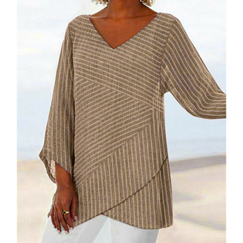 Jocoo Jolee Spring Plus Size Striped Long Sleeve V Neck Linen Baggy Blouse Shirt Ladies Summer Tunic Tops Casual Loose Shirt 3