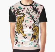 All Over Print 3D Tshirt Men Funny T Shirt Tiger and Pug Japanese style Full Print Big print Graphic T-Shirt(China)