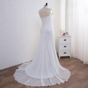 Image 4 - Jiayigong สต็อกชุดแต่งงาน PLUS ขนาดหมวก Applique ผู้หญิงชายหาดชุดเจ้าสาวชีฟอง Vestido De Noiva ชุดเจ้าสาว