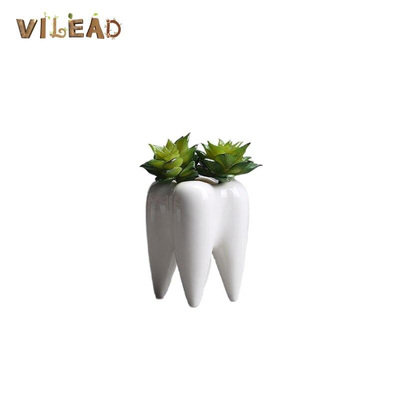 VILEAD 6.8*9.9cm Tooth shaped Ceramic Hydroponic Vase Mini Fake Flower Small Plant Non porous White Flowerpot Home Decoration|Flower Pots & Planters| |  - title=