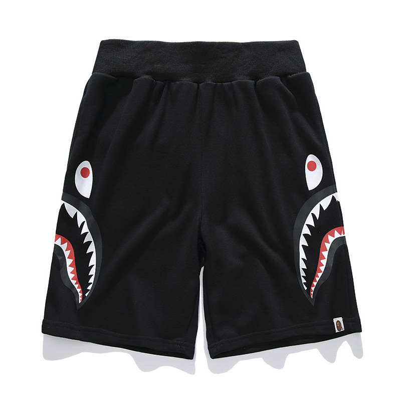 19ss Japanese-style Street Shark Head Casual Shorts Teenager Side Double Shark Sweatpants Couples Shorts Fashion