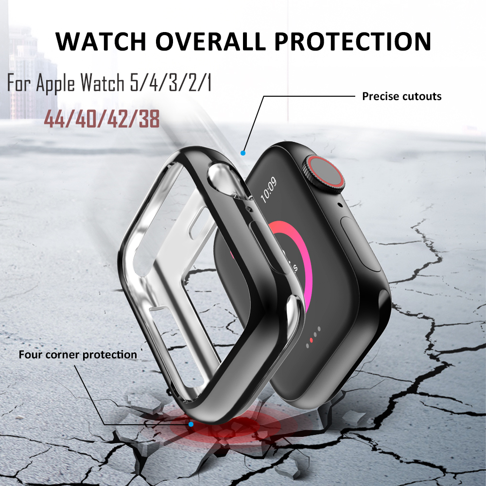 For <font><b>Apple</b></font> <font><b>Watch</b></font> Band 5 4 <font><b>3</b></font> 2 1 Soft TPU Bumper Cover Case for <font><b>Apple</b></font> <font><b>Watch</b></font> Protective Case Frame for iWatch 44mm 40mm <font><b>42mm</b></font> 38mm image