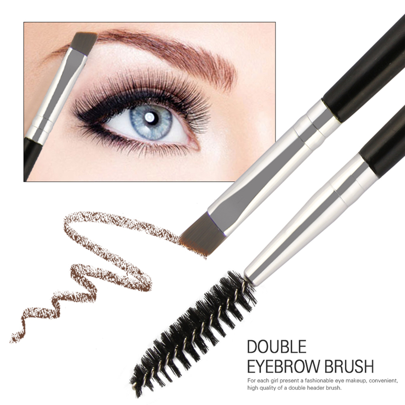 Eyebrow Brush Multicolor Wood Handle Eyelashes Eyebrow Flat Angled Brush Comb Double Ended Eye Makeup Cosmetic Brushes