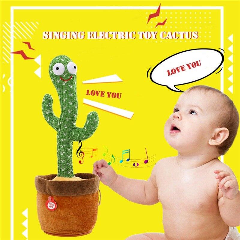 Забавные электрические танцующие кактусы песни и светящиеся растения кактус плюшевые игрушки с музыкой для детей подарки украшение для до...