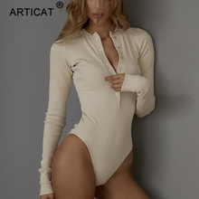 Articat Ribbed Knitted Sexy Bodycon Bodysuit Women Autumn Long Sleeve Slim Rompe