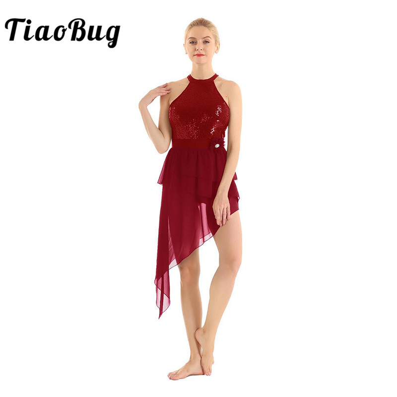 <font><b>TiaoBug</b></font> Adult Sequins Halter Asymmetrical Chiffon Gymnastics Leotards for Women Ballet Dress Contemporary Lyrical Dance Costumes image