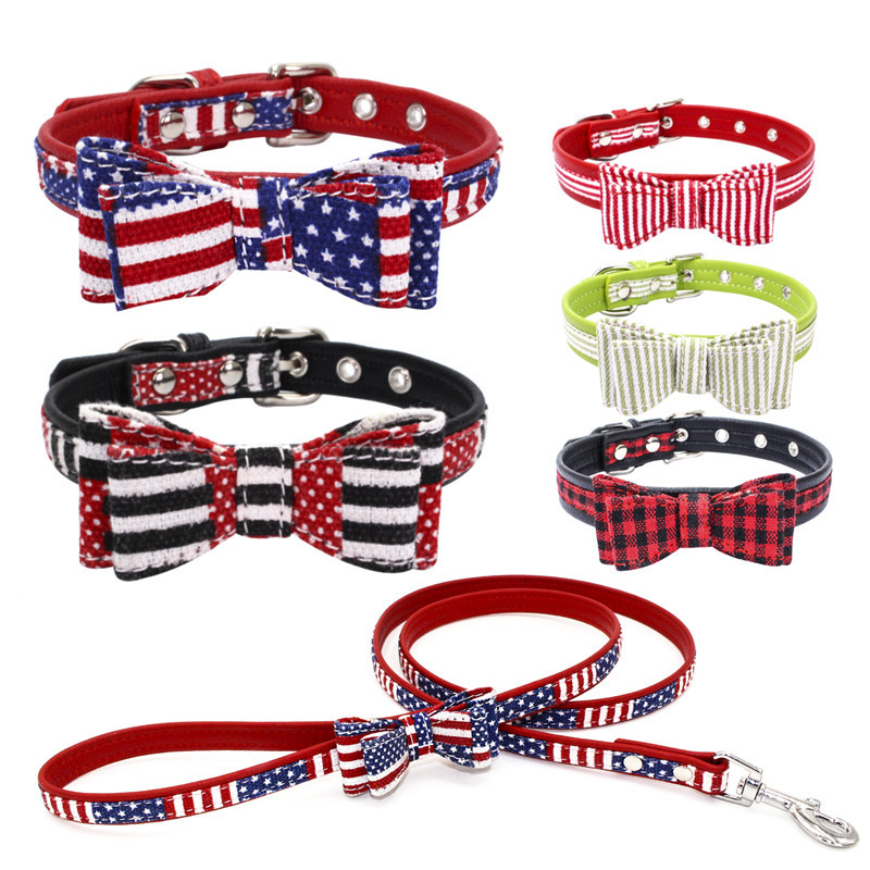 Berry New Style Double Layer Fabric Pet Bow Neck Ring World Cup Dog Neck Ring Flag Colors Dog Chain Hand Holding Rope