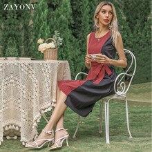 ZAYONV Женщины% 27 миди платье асимметричное с круглым вырезом без рукавов пэчворк платье пояс офис платье