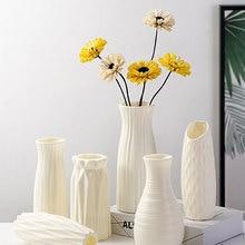 Plastic Vases Basket Decoration Flower-Pot Arrangement Origami Imitation-Ceramic Milky White