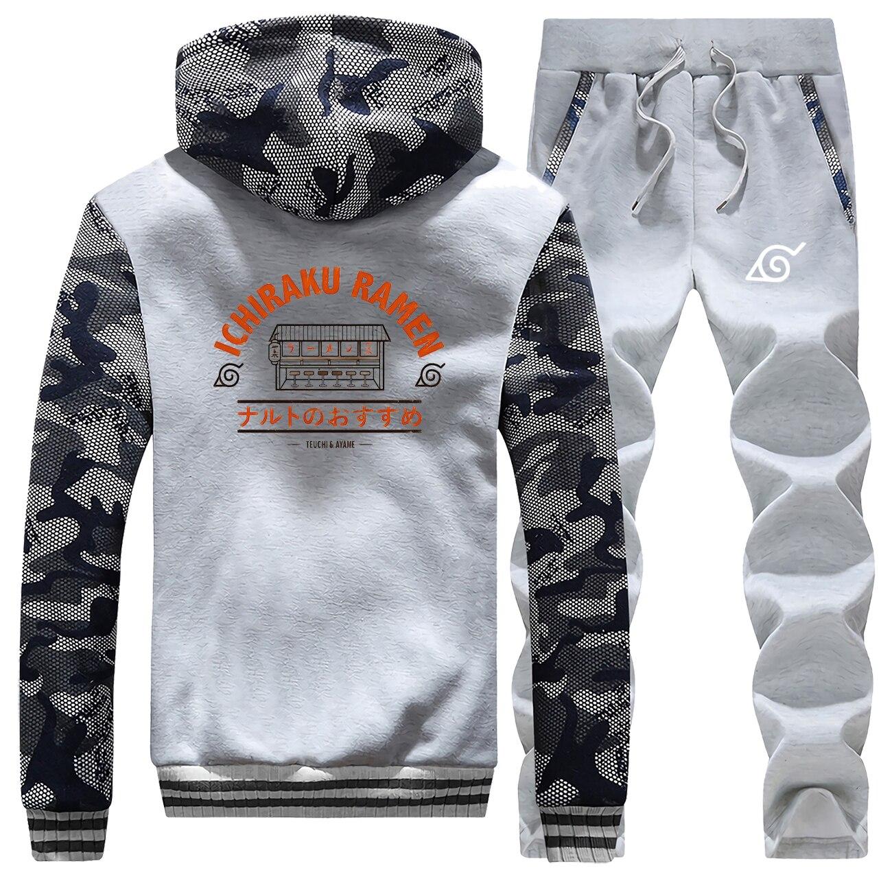 Naruto Thick Men's Camo Sets Ichiraku Ramen Print Hooded Jackets Set Fashion Japan Anime Pants Sweatshirts Harajuku Streetwear
