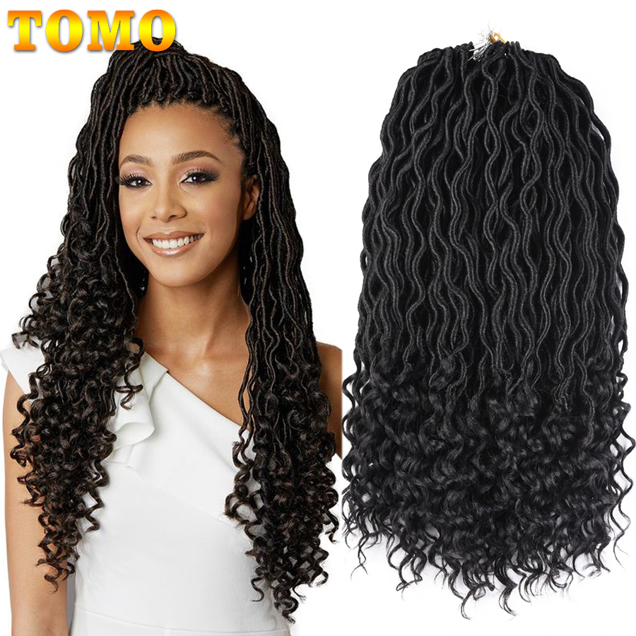 TOMO Faux Locs Curly Crochet Braid Hair 20inch24roots Ombre  Synthetic Braiding Hair Extensions Burgundy Black Red Brown