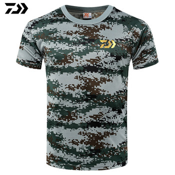 Nowy Fishing T Shirt połowów bicie serca T-Shirt Daiwa połowów koszulka Basic mężczyźni śliczne bawełniane krótkie rękawy kamuflaż Tshirt tanie i dobre opinie Fiodcrg