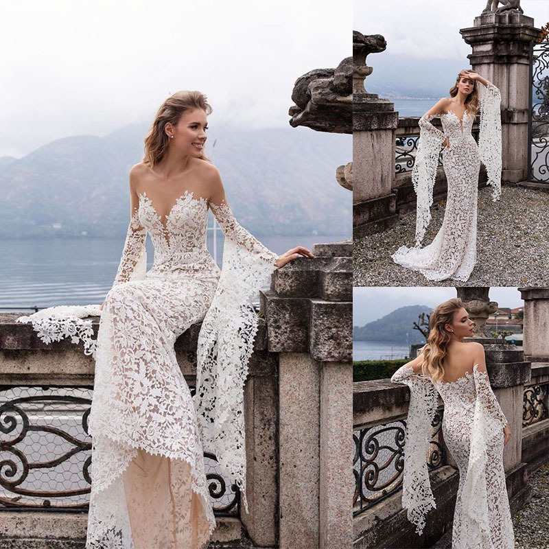 2019 Europe And America Hot Selling Sexy Lace V-neck With Holes Wedding Dress Long Skirts