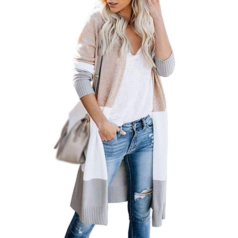 Fashion Cardigans Knitted Sweaters Women Autumn Thin Striped Knit Cardigan Casual Cotton Long Streetwear Coat