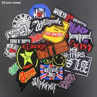Parches de música de moda variada, insignias de planchado bordadas en Punk Rock, rayas en la ropa, apliques adhesivos DIY, 25 uds. Por lote