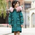 Kinder Unten Jacke-30 Grad Mädchen Winter Mantel Pelz Lange Jacken für Mädchen Teenager Parka Kinder Oberbekleidung Schneeanzug 4 -13 jahre