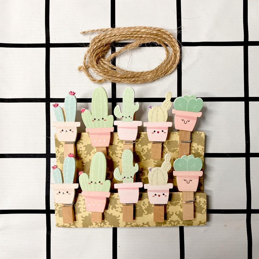 10pcs/lot Lovely Cartoon Pink Green Cactus Wooden Clip Photo Decoration Hemp Rope Memo Clip Office School Supplies