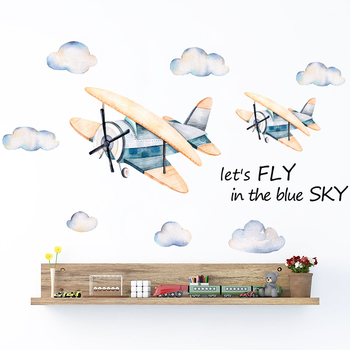 Cartoon Airplane Clounds Wall Stickers Watercolor Hand Drawn Wall Decals For Kids Boy Room Play Room Baby Nursey Home Decoartion