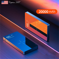 Captain Wireless Portable Charger  20000 Ma Dual USB Output Wireless Charger Power Bank with LED Digital Display Mirror Design
