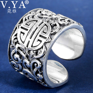 Image 2 - V.YA Echten Silber 925 Ethnische Stil Ring Für Männer Große Breite Ringe 3D Klar Gravierten Offenen Ring Vintage Männlichen Schmuck