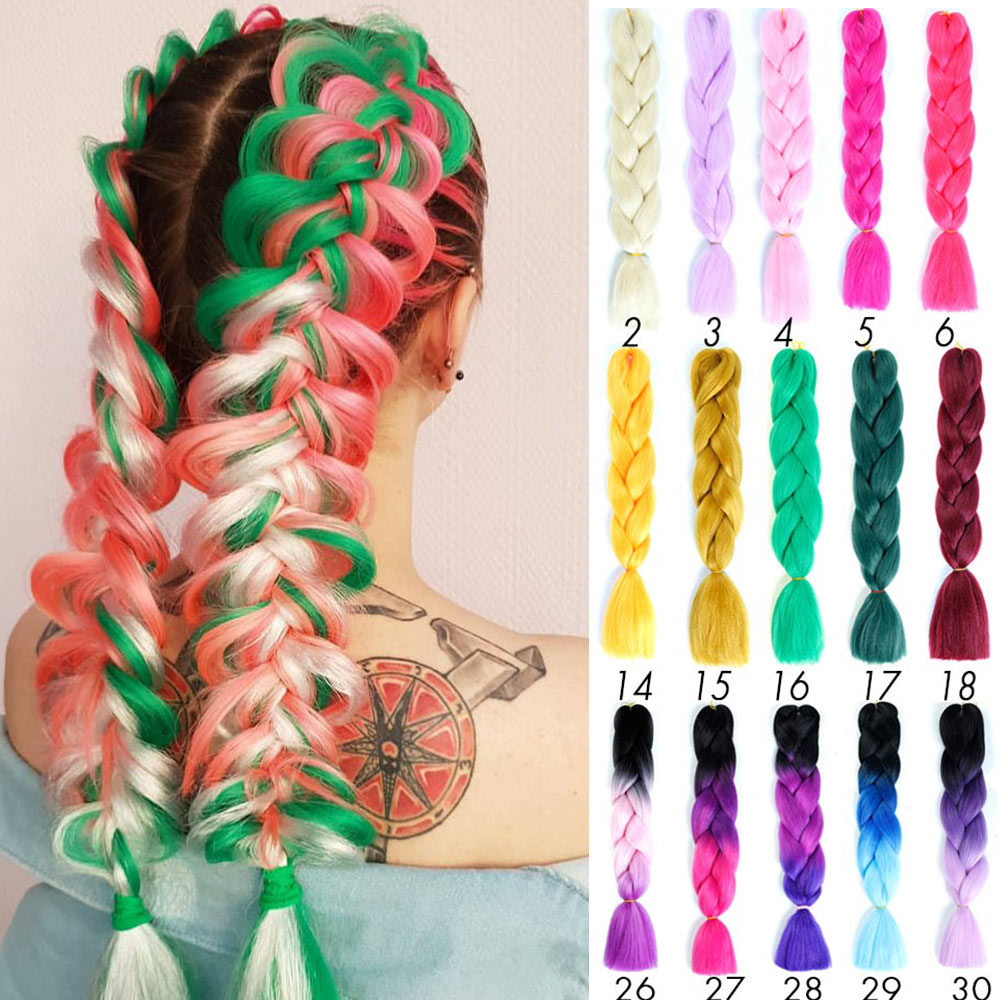 Prestretched Ombre Braiding Hair Extensions Pageup Afro Jumbo Crochet Braids Blue Expression Synthetic Hair